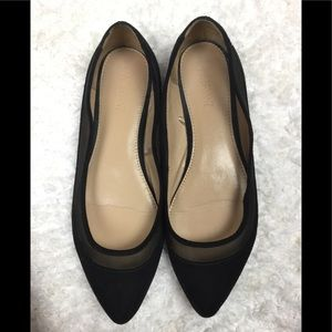 LANE BRYANT POINTY TOES BLACK SUDE / MESH FLATS
